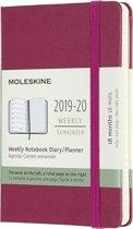 Moleskine 18 MND Agenda - 2019/20 - Wekelijks - Pocket (9x14 cm) - Snappy Pink - Harde Kaft