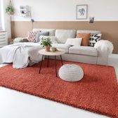 Hoogpolig vloerkleed shaggy Trend effen - terracotta 100x200 cm