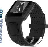 Zwart bandje voor Tomtom Runner 1 & Multi-Sport 1 - horlogeband - polsband - strap - horlogebandje