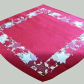 Kerst tafelkleed Rood met witte en zilveren sterren - Vierkant 85 cm