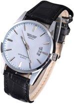 SWIDU - Stijlvol heren horloge - datumaanduiding - leren band - zwart - 40 mm - I-deLuxe verpakking