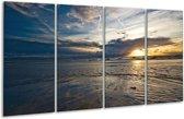 Glasschilderij Zee | Blauw, Grijs, Wit | 160x80cm 4Luik | Foto print op Glas |  F000635