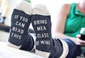 Bring Me Wine Sokken - Sok met Tekst - Donkergrijs