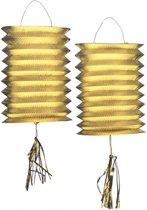 Metallic gouden lampionnen 2 stuks