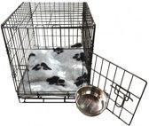 Topmast Hondenbench Bench Autobench Zwart - L - 91 cm - Opvouwbaar +  Teddybont Kussen Grijs print
