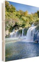 De rivierwatervallen van Krka in het Nationaal Park Krka in Kroatië Vurenhout met planken 60x90 cm - Foto print op Hout (Wanddecoratie)