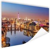 Panorama van Berlijn bij schemering Poster 180x120 cm - Foto print op Poster (wanddecoratie woonkamer / slaapkamer) / Steden Poster XXL / Groot formaat!