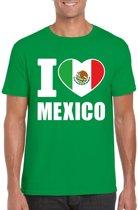 Groen I love Mexico supporter shirt heren - Mexicaans t-shirt heren S