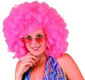 Pruik Big Afro roze