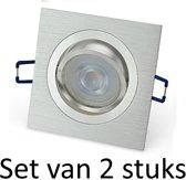 Dimbare Philips GU10 inbouwspot   Zilver vierkant   Set van 2 stuks