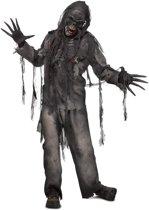 Burned zombie pak kostuum halloween met masker en handschoenen - apocalyps zwart geblakerd eng zombiepak horror festival