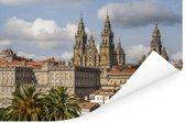 Oranje daken voor de kathedraal Santiago de Compostela Poster 90x60 cm - Foto print op Poster (wanddecoratie woonkamer / slaapkamer)