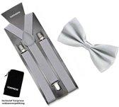 Bretels inclusief vlinderdas - Zilver - Sorprese - met stevige clip - bretels - vlinderdas - strik – strikje - luxe - heren - unisex - giftset