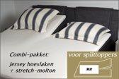 Cevilit Hoeslaken Split topper jersey hoeslaken (WIT)  + stretch-molton 180 x 200-220. Combi-voordeelpak