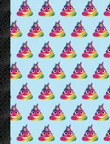 My Super Cute Blue Rainbow Poop Emoji 2x2 Quad Graph Paper Notebook