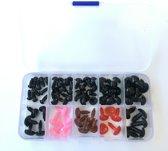 Gekleurde neusjes en zwarte oogjes in bewaardoosje in totaal 75 stuks