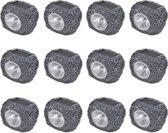 vidaXL Buitenverlichting zonne-energie LED tuinlamp steenvormig 12 stuks