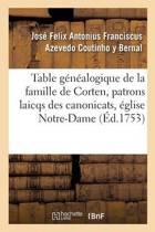 Table G n alogique de la Famille de Corten, Patrons Laicqs Des Canonicats, glise de Notre-Dame