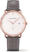 Paul Hewitt Grand Atlantic Line PH-TGA-R-W-13M - Horloge - Leer - Grijs - Ø42mm