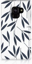 Samsung Galaxy A8 (2018) Standcase Hoesje Design Leaves Blue
