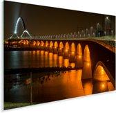 Verlichting van de Waalbrug in de Nederlandse stad Nijmegen Plexiglas 120x80 cm - Foto print op Glas (Plexiglas wanddecoratie)