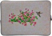 Laptop Sleeve met bloemen tot 13 inch – Crème/Roze