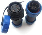Male + Female - waterdichte kabelverbinder - 4 aderig - IP68