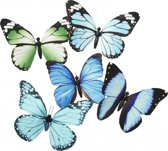 Vlinder magneet blauw/groen 13.5 cm