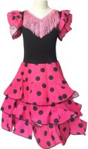 Spaanse jurk - Flamenco - Niño - Roze/Zwart - Maat 116/122 (8) - Verkleed jurk