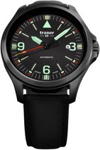 Traser Officer Pro Automatic black leather - horloge - Ø 45 mm - zwart