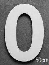 Grote RVS Huisnummers | Hoogte 50cm XXXL | 5 jaar garantie | Nummer 0