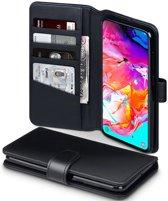 Hoesje voor Samsung Galaxy A70, luxe echt leren 3-in-1 bookcase, zwart