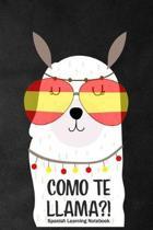 Como Te LLAMA?! Spanish Learning Notebook