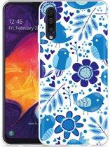 Galaxy A30s Hoesje Blue Bird and Flowers