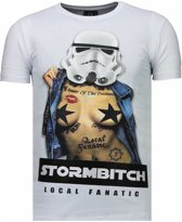 Local Fanatic Stormbitch - Rhinestone T-shirt - Wit - Maten: XXL