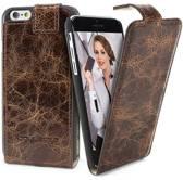 Echt Leer cover - Samsung Galaxy S6 hoesje - Lederen Flip Hoesje Bruin - FlipCase (Vessel Brown)