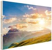 Zonsondergang in de bergen Hout 80x60 cm - Foto print op Hout (Wanddecoratie)