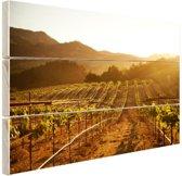 Wijngaard bij zonsondergang Hout 80x60 cm - Foto print op Hout (Wanddecoratie)