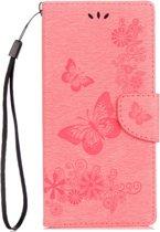 Voor Sony Xperia XA1 Pressed Bloemens vlinder patroon horizontaal Flip lederen hoesje met houder & opbergruimte voor pinpassen & portemonnee(roze)