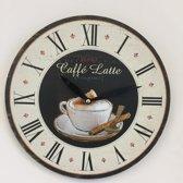 Wandklok CAFÉ LATTE vintage retro design