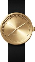 LEFF amsterdam - Horloge - Tube Watch D38 - Goud met Zwart leren band - Ø 38mm - LT71021