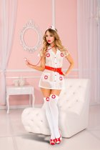 Music Legs - Transparant Zusterkostuum - Wit/Rood - verkleed, verkleden, carnaval, rollenspel, sexy pakjes, zuster kostuum,