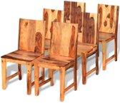 vidaXL Eetkamerstoel massief sheesham hout 6 st