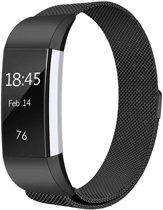 Milanees bandje geschikt voor Fitbit Charge 2 - Met magneetsluiting - Gemaakt van RVS - KELERINO. - Zwart - Large