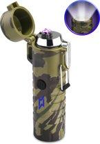 SuperLit – Elektrische Aansteker | Waterdicht met LED Zaklamp | Oplaadbare plasma aansteker | Aansteker met Militaire zaklamp | Survival set - Camo