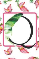 Q: Initial Q Monogram Notebook Journal Gift for Tropical Flower Lovers