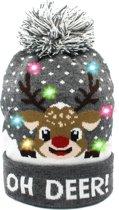 JAP Kerstmuts met lichtjes - Beanie met kerst verlichting - Rudolf - Oh deer - Grijs
