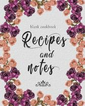 Blank Cookbook Recipes And Notes: Purple Floral Recipe Book Planner Journal Notebook Organizer Gift - Favorite Family Serving Ingredients Preparation