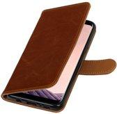Bruin vintage lederlook bookcase wallet smartphone Telefoonhoesje voor Samsung Galaxy S8