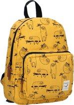 Kidzroom Animal Academy Kinderrugzak 34 cm - Geel - Schattige luiaard print
